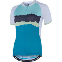 Madison Keirin women's short sleeve jersey, white/peacock blue torn stripes