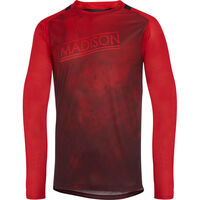 Madison Flux Enduro men's long sleeve jersey, marble true red / classy burgundy