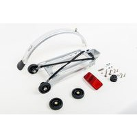 Brompton Rack set complete incl 4 rollers + mudguard - 6mm holes (Silver)
